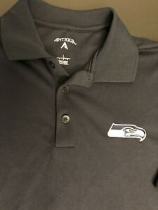 Antigua NFL Seattle Seahawks button polo Shirt Men Large Navy Embroidery New!!