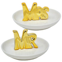 MR & MRS TRINKET DISH GOLD RINGS NECKLACE JEWELLERY GIFT SET PLATE KEYS TRAY NEW