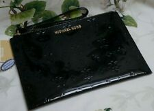 NWT MICHAEL KORS JET SET Travel XL Zip Clutch Wristlet BLACK MK Mirror Metallic