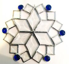 """7"""" Stained Glass Beveled Snowflake Suncatcher - Made in the USA in NH- CCI"""