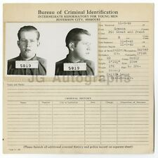 Police Booking Sheet - Gayle Legan - Cheat & Fraud - Missouri - 1946