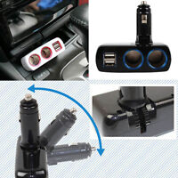 2 Way Charger Adapter Dual USB Port Car Cigarette Lighter Socket Splitter LED