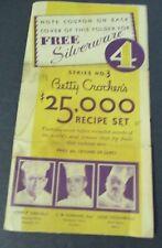 BETTY CROCKER'S Recipe Set Brochure w/ Gold Medal & Rogers Silverware Coupons