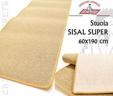 Tappeto Stuoia SISAL SUPER 60x190 Sintetica Lavabile Acqua Fondo Feltro Bordata