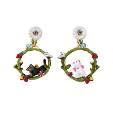 Boucles d'Oreilles Clous Doré Anneau Chat Animal Papillon Email Rouge Blanc L6