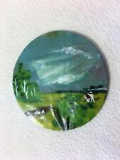 "Hand Painted Natural Flat Round Seashell Art Sheep Farmers In Field 3""X3"""