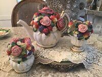 Fitz & Floyd China Tea Pot Set Pink Roses Fruits Creamer Sugar Set