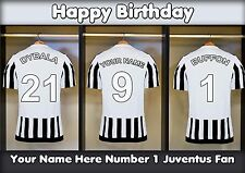A5 Personalised Juventus Football Dressing Room Greeting Birthday Card PID0482