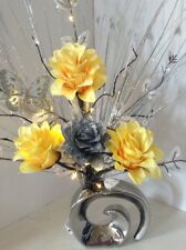 Artificial Flowers Arrangement Yellow And Silver Vase Lights Up Butterfly
