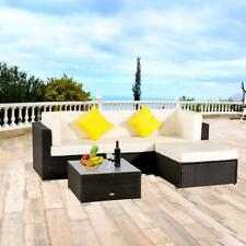 5 Pcs Patio Lawn Furniture Couch Garden Rattan Wicker Cushioned Sectional Sofa