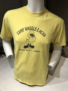 VINTAGE 1997 Camp Duck yellow T-Shirt Mens MED. Souvenir Tee 1990's