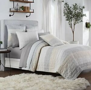 UGG Tideline Gray TAN Striped Queen QUILT ONLY NEW Coverlet Bedspread