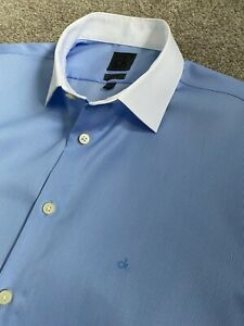 BNWT CALVIN KLEIN CK MONOGRAMMED WHITE COLLAR BLUE SLIM FIT SHIRT 16  EU 41