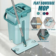 US Microfiber Flat Squeeze Mop And Bucket Kit Hand Free Automatic Floor Clean
