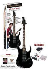Spectrum AIL 75V-B Vintage Series Shark Style Electric Guitar Pack, Black