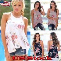Plus Size Women Floral Vest Tank Tops Blouse Summer Camisole Sleeveless T-Shirt