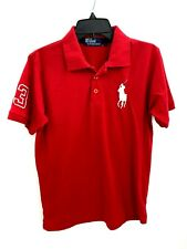 Polo by Ralph Lauren Mens Medium Shirt Red Big Pony Rugby Short Sleeve