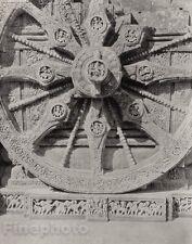 1928 Original INDIA Konarak Sculpture Wheel Sun Chariot Photo Art By HURLIMANN