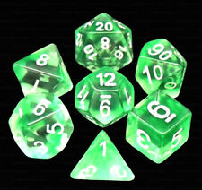 New 7 Piece Translucent Clear Green Nebula Polyhedral Dice Set – Green Dice Bag