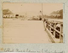 Allemagne, Coblence, Koblenz, pont de bateaux sur le Rhin  vintage albumen print