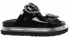 Women's Shoes Sandal Slippers LOVE MOSCHINO JA28224 Birky Vernice Black New