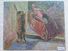 Ancienne Peinture à Huile sur Planche Interne avec Outils Du Peintre Année 1959