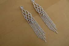 NWT Exquisite Long Chandelier Earrings with Dangling Crystal Chains 19