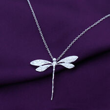 925 Sterling Silver X'mas Gift Vintage Dragonfly Necklace Pendants For Women New