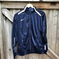 Nike Women's Track Jacket Overtime Full Zip Navy Blue White Size Large
