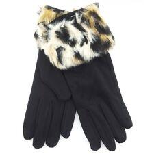 Womens ladies Tom Franks Soft Fur Gloves Warm High Quality Leopard Cuff