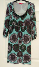 Boden Ladies Green Brown Floral 3/4 Sleeve Embellished Tunic Dress UK Size 12