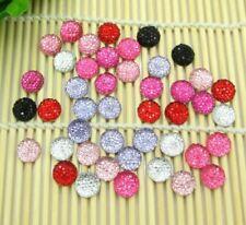 100Pcs Mixed Round Bling Shiny Resin Decoration Crafts Beads Flatback Cabochon S
