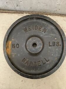"""Vintage Rare 50lb WEIDER Barbell Weight 1""""Hole -"""