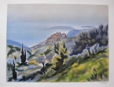 """VICTOR ZAROU """"SEASIDE VILLAGE"""" Hand Signed Limited Edition Lithograph"""