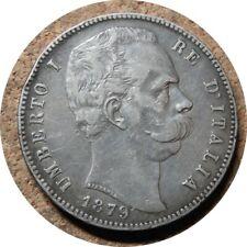 elf Italy Kingdom 5 Lire 1879 R Silver  Umberto I