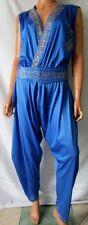 COSTUME ORIENTALE Tuta pantalone TG. M stimata Blu elettrico decorato fili oro