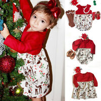 Cute Xmas Toddler Baby Girl Kid Deer Romper Bodysuit Dress Party Dresses Costume
