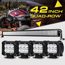 """42"""" 2880W Quad-Row +4"""" Pods CREE LED Light Bar ATV UTV For Polaris YAMAHA Can-Am"""
