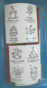 Stampin Up GREETINGS GALORE Rubber Stamp Set 2003 8 pc ALL OCCASION WORDS