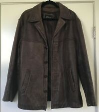 GUESS VINTAGE MEN'S DISTRESSED LEATHER JACKET~BROWN~SIZE LARGE