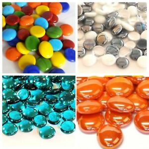 50 x (app 225g) Coloured Glass Pebbles 20mm Home Wedding Mosaic - 100+ Choices
