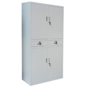 Metal Office Storage Cupboard with 2 Drawers Equipment Filing Cabinet 4 Doors UK