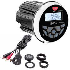 Boss Audio Marine Stereo da cruscotto 240 W MGR350B con cavo adattatore USB/RCA