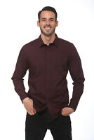 Elevani Men's Long Sleeve Regular Fit Casual Dark Scarlet Shirt