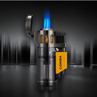 BLACK Windproof Triple Jet Torch Flame Cigar Lighter Butane Gas Refillable