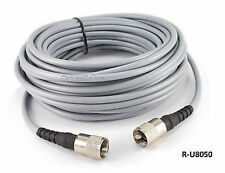 50ft RG-8/U Mini Coax UHF PL-259 Male/Male Grey Antenna Cable, R-U8050