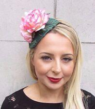 Dark Green Blush Light Pink Rose Flower Fascinator Races Wedding Headband 3510