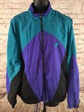 VTG 80s 90s Nike Purple Green Black Colorblock Spellout Swoosh Windbreaker Sz XL