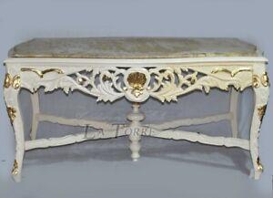 Tavolo da pranzo legno intagliato rettangolare avorio marmo Barocco cm 170 Ar166