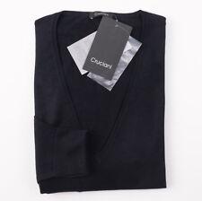 NWT $750 CRUCIANI Midnight Navy Blue Wool-Silk-Cashmere Sweater XL Tall V-Neck